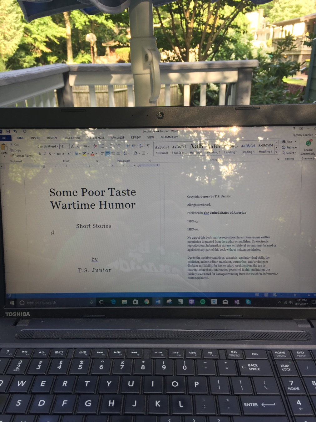 """T.S. Junior signing on, short story collection, """"Some Poor Taste Wartime Humor"""" coming nextweek"""