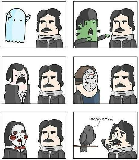 Edgar Allan Poe is not phased by modern monsters but terrified by the Raven saying nevermore.