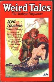 The cover from Robert E. Howard's first Solomon Kane story in Weird Tales.