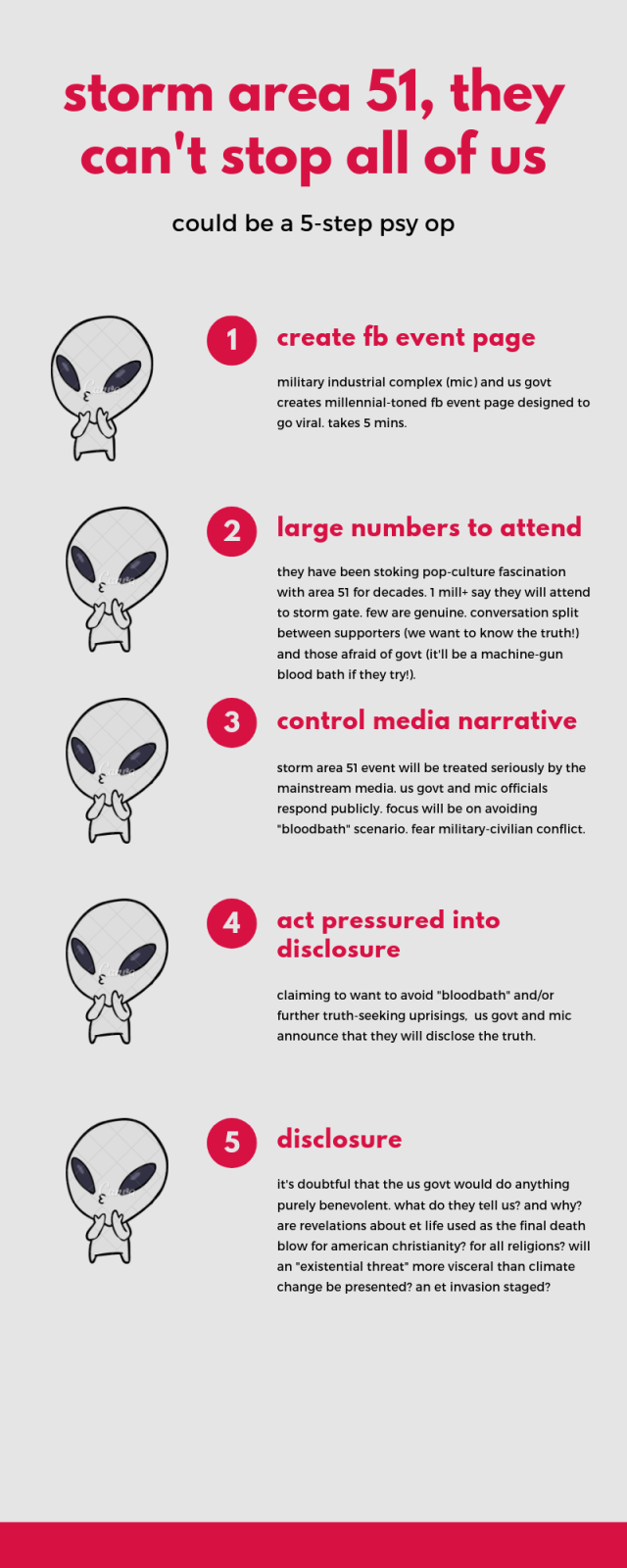 infographic with 5 steps explaining how the storm area 51, they can't stop all of us facebook event is a government orchestrated psychological operation. it could lead to alien disclosure about extraterrestrial life.